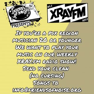 Friends of Noise and @xrayfm have teamed up to provide space for youth djs and what they are listening to on our Friends of Noise Presents show. Now we are turning half of our shows into showcases for youth musicians and poets too. So send us a clean, radio friendly (no curses!) track of your best work (to info@friendsofnoise.org) so that we can add it to an upcoming playlist! This is just one of the ways that we support youth artist as we advocate for an all ages music scene that values them for their talent and not because they can draw a crowd of ppl just to buy booze! So visit our website and see what we're all about and join our supporters with a donation via the @giveguide today! #allagesalways #pdxmusic #teenmusic #portlandoregon #youthinaction #allagesallstages #giveguide2020