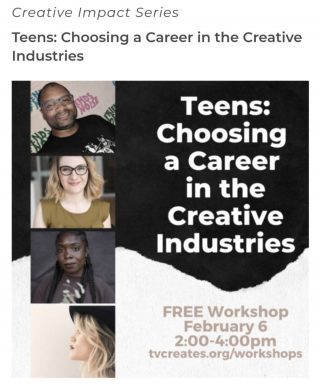"""@tualatinvalleycreates says """"There's still time to register for our upcoming FREE Workshop, """"Teens: Choosing a Career in the Creative Industries""""! This interactive program will give teens the unique opportunity to hear the stories of how four incredible local professionals found their way to life in the arts. High school juniors and seniors are invited to bring their questions about how to make a living as an artist, college decisions, resources for students, and more"""" On February 6th, join their four-member panel with Christine Miller - Portland-based conceptual artist and curator, Leah Payne - design professional at the Center for Creative Leadership, Danielle Gurley - freelance executive producer and advertising instructor and our very own Executive Director, Andre Middleton. Please share this workshop info with any young artists and creative young people you know Registration can be found at www.tinyurl.com/creativeimpactworkshops @reynoldsartshow @riderconnection @lhscareercenter @chs_designandprint @clevelandbandspdx @thecenterpdx"""