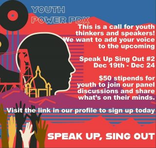Friends of Noise has a side hustle (one of many tbh) We're supporting @youthpowerpdx as they look for youth artist, activist, zinesters to help them make the 2020 Fall edition of Speak Up Sing Out a success! Our focus is to center and uplift BIPOC and LGTBQIA+ youth, but all youth are welcome to submit! If you're down to submit your art (songs, dances, poetry, essays, zine contributions or your words) to inspire youth across our region to share their stories as well, this is a call to you! Hit the link in their bio to find our intake forms and learn how you can participate today.