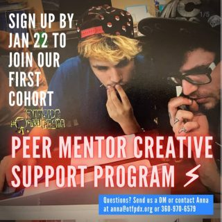 Repost for @otfpdx Introducing our new and improved: Peer Mentor Creative Support Program! Sign up by this Friday, January 22, to join our first cohort for a 6-month low-stakes, high-awesomeness 1-on-1 creative support mentoring relationship, led by our rockstar Peer Mentors, Narci and River! Swipe through for details, and click the linktree in our bio to fill out the short and sweet sign up form. [Image description 1: An image of two young people, Narci and Joey, former OTF Peer Mentor, both looking intently at a laptop. Narci on the left has bleached hair beneath a backwards pokeball snapback, and Joey has long dark hair, a grungy punk hat, glasses, and sweet finger tattoos. On top of the photo, white all-caps text in the upper left reads
